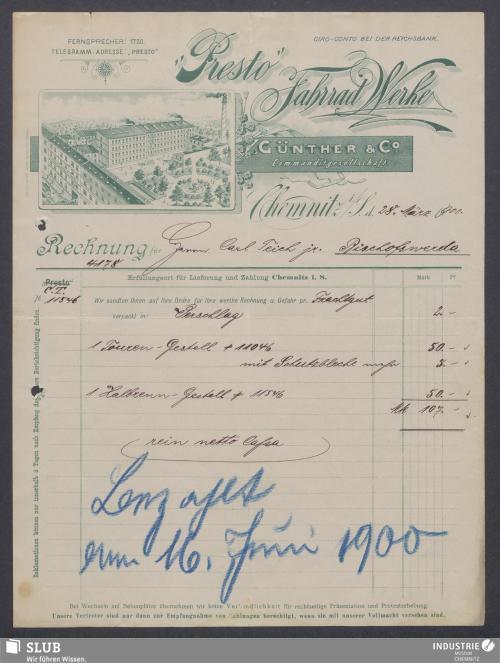 """Vorschaubild von """"Presto"""" Fahrrad Werke Günther & Co. Commanditgesellschaft, Chemnitz i. S."""