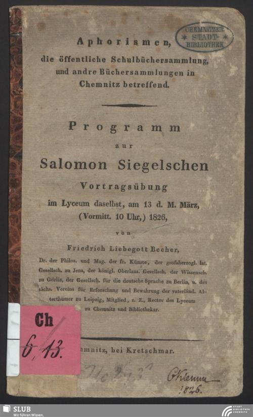 Vorschaubild von [Programm zur Salomon-Siegelschen Vortragsübung im Lyceum daselbst]