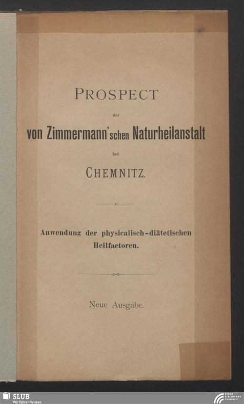 Vorschaubild von Prospect der von Zimmermann'schen Naturheilanstalt bei Chemnitz