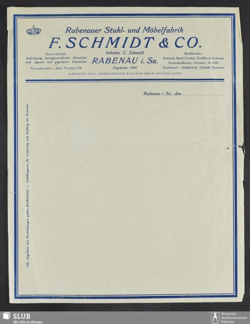 Vorschaubild von Rabenauer Stuhl- und Möbelfabrik F. Schmidt & Co., Inhaber C. Schmidt, Rabenau i.Sa.