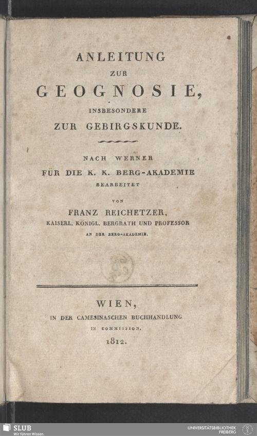 Vorschaubild von Anleitung Zur Geognosie, Insbesondere Zur Gebirgskunde