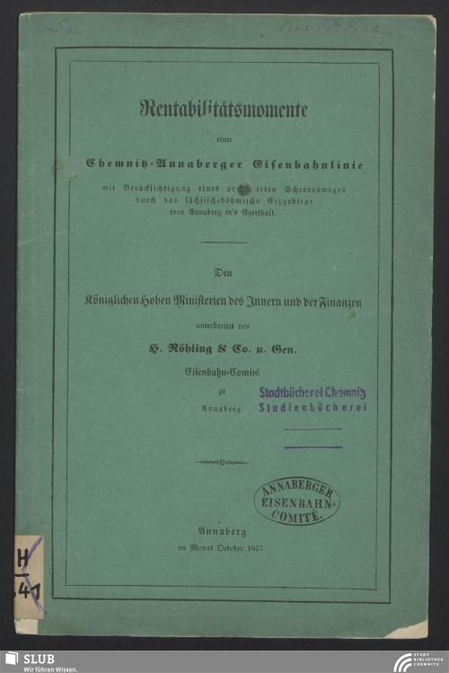 Vorschaubild von Rentabilitätsmomente einer Chemnitz-Annaberger Eisenbahnlinie