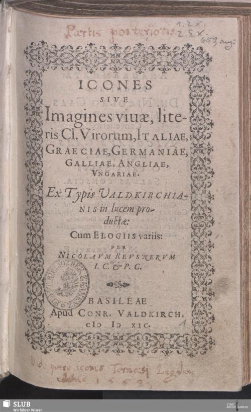 Vorschaubild von Icones Sive Imagines viuae, literis Cl. Virorum, Italiae, Graeciae, Germaniae, Galliae, Angliae, Vngariae