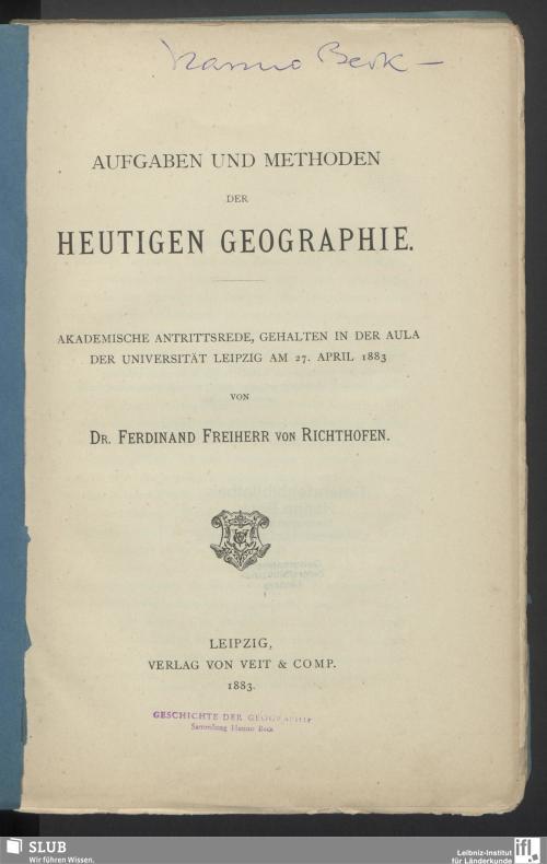 Vorschaubild von Aufgaben und Methoden der heutigen Geographie