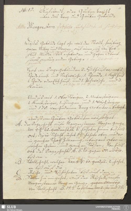 Vorschaubild von Aufstandt, oder Gruben Bericht über das Berg und Gruben Gebäude Alter Morgenstern Erbstolln samt fundgb: in freyberger B. A. R. - 17.6015 4.