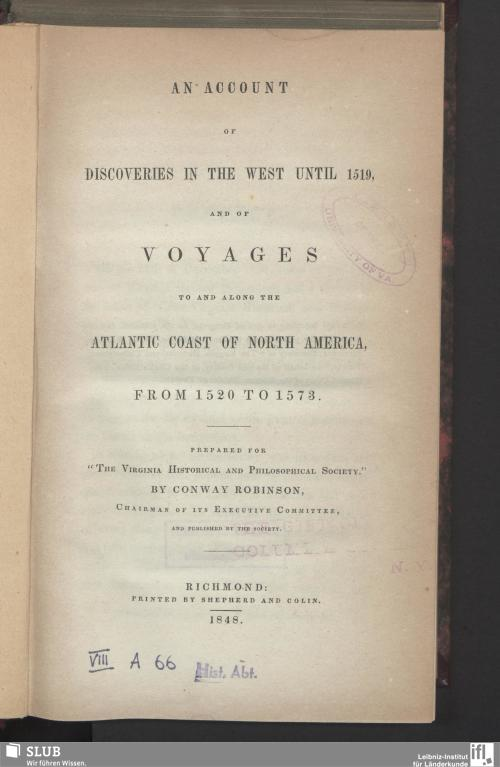 Vorschaubild von An Account Of Discoveries In The West Until 1519 And Of Voyages To And Along The Atlantic Coast Of North America