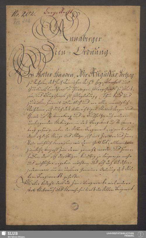 Vorschaubild von Annaberger Zien-Ordnung - XVII 202 4.