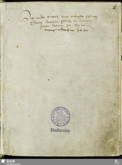 Vorschaubild von Das ander puech mit meyster gesang Hans Sachsen gedicht in zwayen Jaren volent got sey lob meins alters im 34 Jar - MG 2