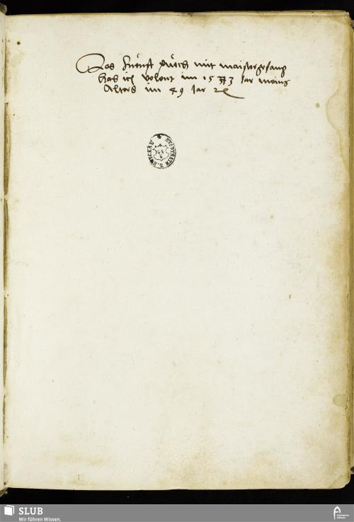 Vorschaubild von Das fuenft puech mit maistergesang hab ich volent im 1543 Jar meins Alters im 49 Jar - MG 5