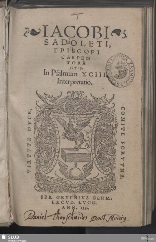 Vorschaubild von Iacobi Sadoleti, Episcopi Carpentoractis, In Psalmum XCIII. Interpretatio