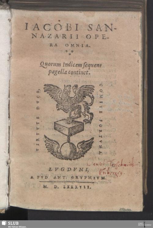 Vorschaubild von Iacobi Sannazarii Opera Omnia