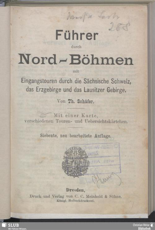 Vorschaubild von Führer durch Nord-Böhmen mit Eingangstouren durch die Sächsische Schweiz, das Erzgebirge und Lausitzer Gebirge