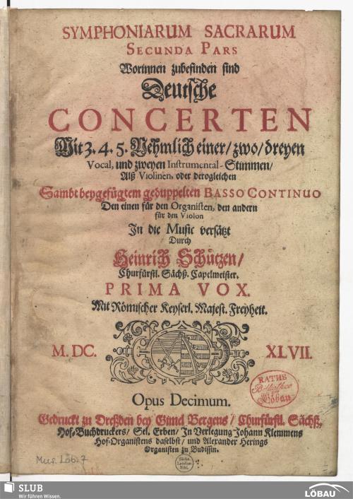 Vorschaubild von Symphoniarum sacrarum secunda pars