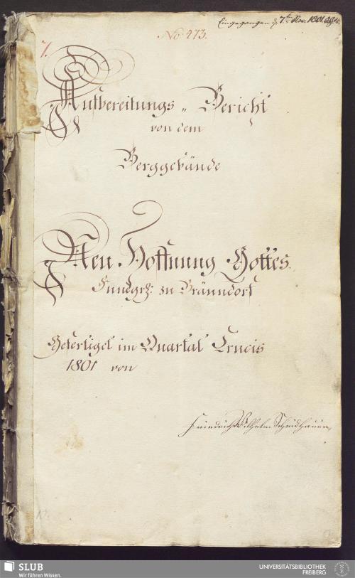Vorschaubild von Aufbereitungs-Bericht von dem Berggebäude Neu Hoffnung Gottes Fundgr. zu Bräundorf - 17.6368 4.