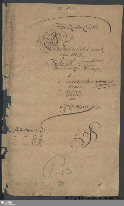 Vorschaubild von Da die Zeit erfüllet ward - Mus.1857-E-519