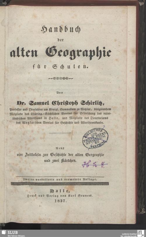 Vorschaubild von Handbuch der alten Geographie für Schulen