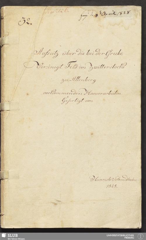 Vorschaubild von Aufsatz über die bei der Grube Vereinigt Feld im Zwitterstocke zu Altenberg vorkommenden Haeuerarbeiten - 18.6789 4.