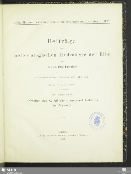 Vorschaubild von Beiträge zur meteorologischen Hydrologie der Elbe