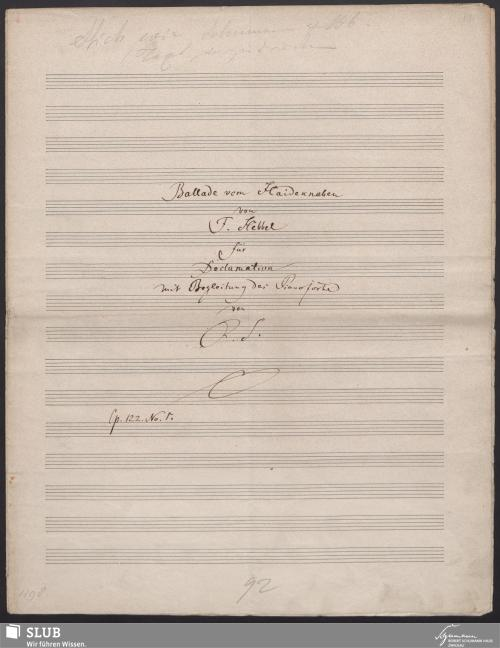 Vorschaubild von Ballade vom Haideknaben von Hebbel für Declamation mit Begleitung des Pianoforte - 7231-A1