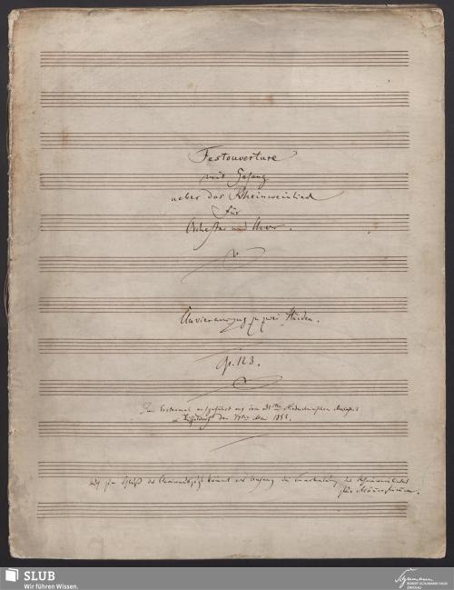 Vorschaubild von Festouverture mit Gesang ueber das Rheinweinlied für Orchester und Chor. Clavierauszug zu zwei Händen - 3058-A1