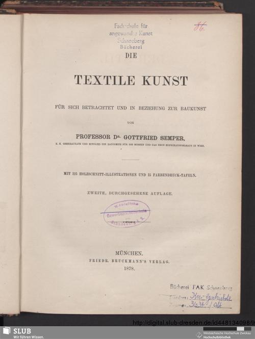 Vorschaubild von Die textile Kunst für sich betrachtet und in Beziehung zur Baukunst