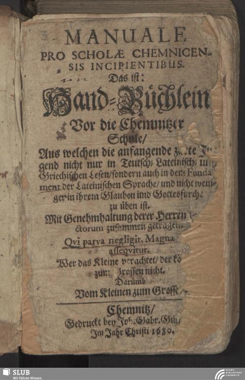 Vorschaubild von Manuale Pro Scholae Chemnicensis Incipientibus