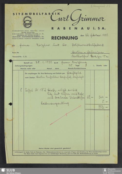 Vorschaubild von Sitzmöbelfabrik Curt Grimmer, Rabenau i.Sa.