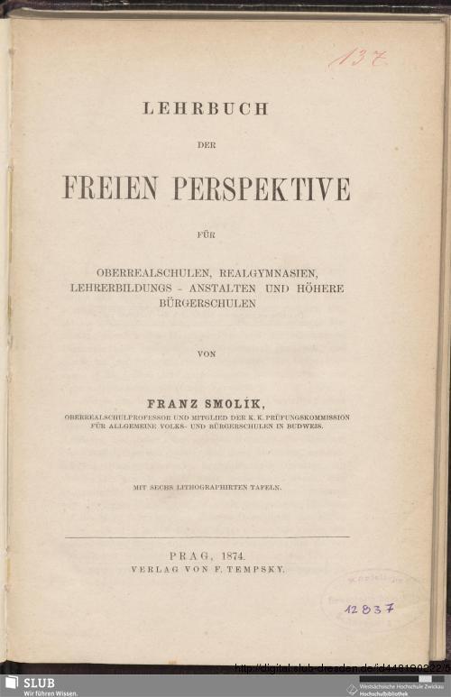 Vorschaubild von Lehrbuch der freien Perspektive für Oberrealschulen, Realgymnasien, Lehrerbildungs-Anstalten und höhere Bürgerschulen