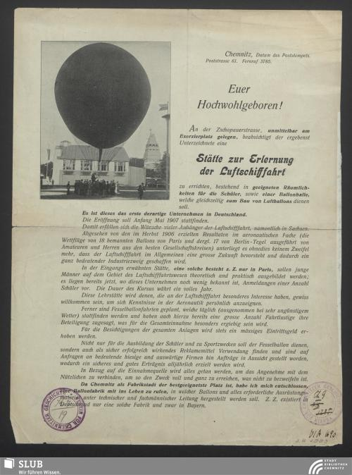 Vorschaubild von [Vorstellung der Geschäftsidee von der Errichtung einer Stätte zur Erlernung der Luftschifffahrt in Chemnitz]
