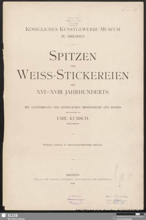 Vorschaubild von Spitzen und Weiss-Stickereien des XVI. - XVIII. Jahrhunderts