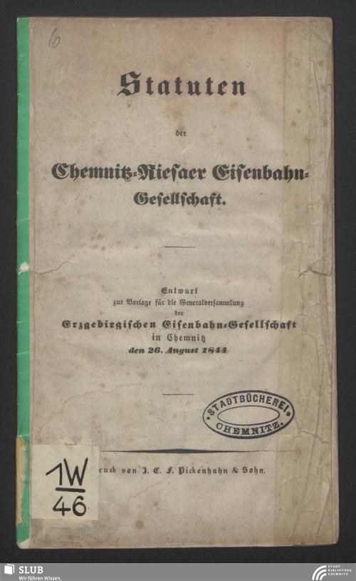 Vorschaubild von Statuten der Chemnitz-Riesaer Eisenbahn-Gesellschaft