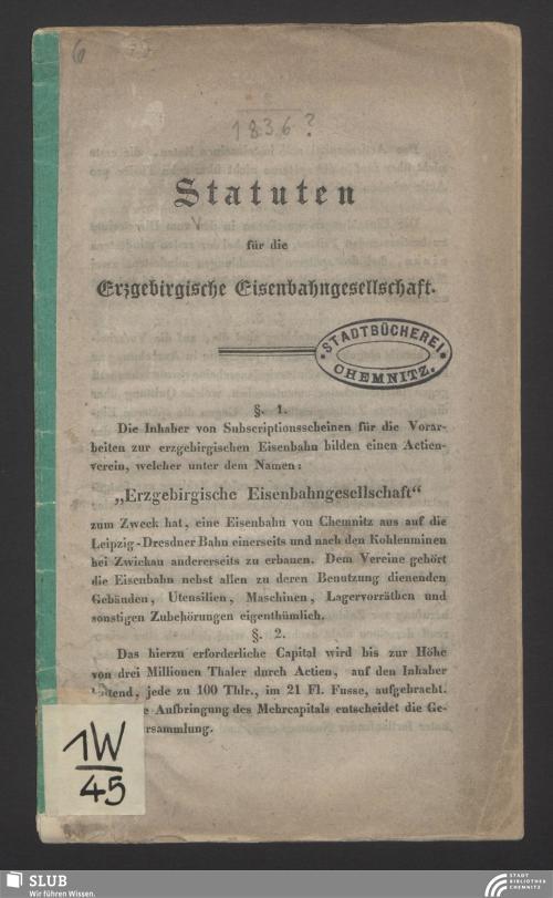 Vorschaubild von Statuten für die Erzgebirgische Eisenbahngesellschaft