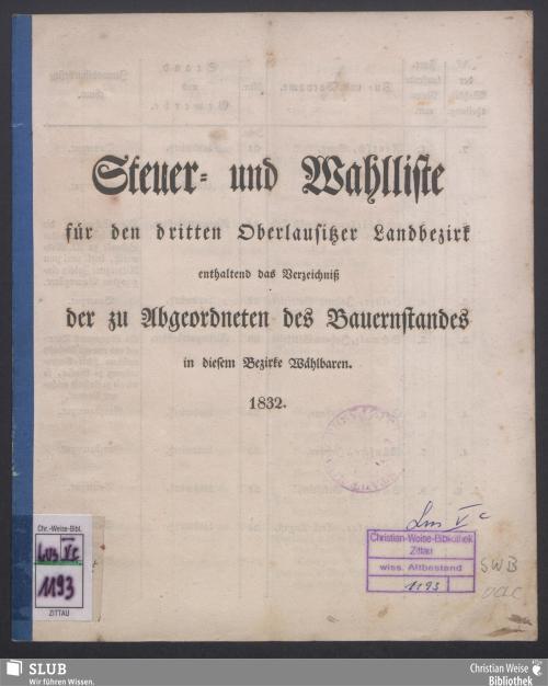 Vorschaubild von Steuer- und Wahlliste für den dritten Oberlausitzer Landbezirk