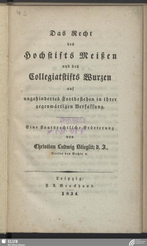 Vorschaubild von Das Recht des Hochstifts Meißen und des Collegiatstifts Wurzen auf ungehindertes Fortbestehen in ihrer gegenwärtigen Verfassung