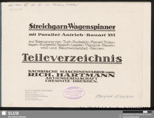 Vorschaubild von Streichgarn-Wagenspinner mit Parallel-Antrieb, Bauart XVI