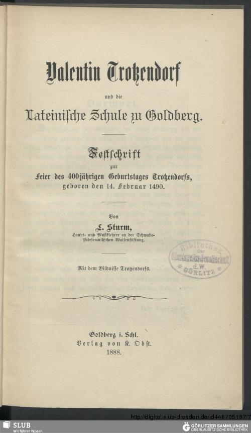 Vorschaubild von Valentin Trotzendorf und die Lateinische Schule zu Goldberg