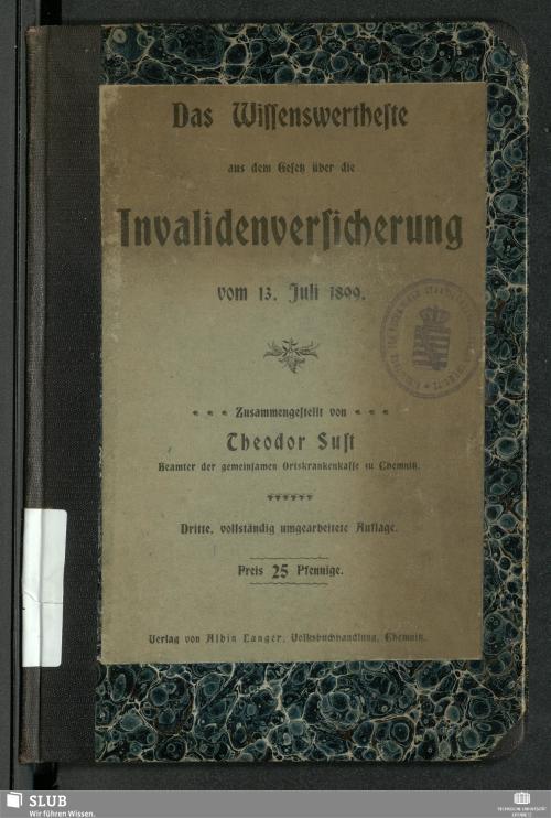 Vorschaubild von Das Wissenswertheste aus dem Gesetz über die Invalidenversicherung vom 13. Juli 1899