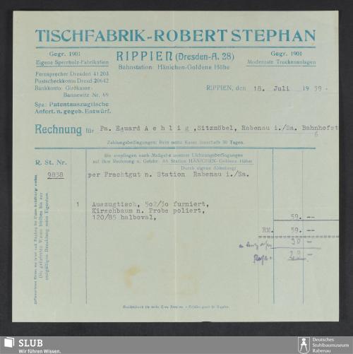 Vorschaubild von Tischfabrik Robert Stephan, Rippien (Dresden-A.)