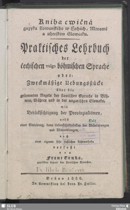 Vorschaubild von Praktisches Lehrbuch der čechischen vulgo böhmischen Sprache