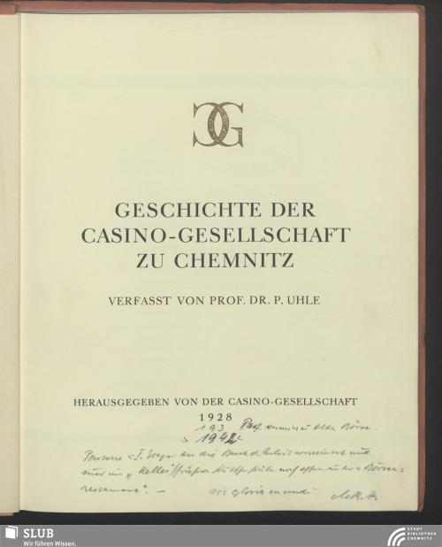 Vorschaubild von Geschichte der Casino-Gesellschaft zu Chemnitz