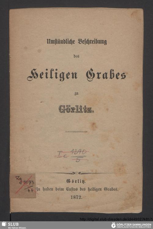 Vorschaubild von Umständliche Beschreibung des Heiligen Grabes zu Görlitz