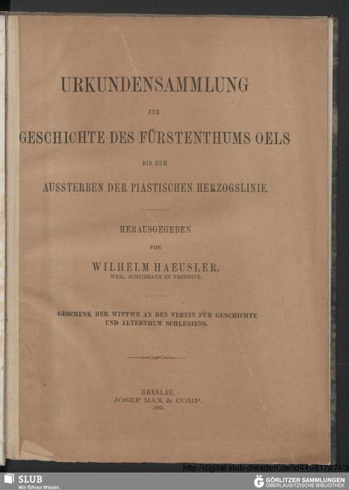Vorschaubild von Urkundensammlung zur Geschichte des Fürstenthums Oels