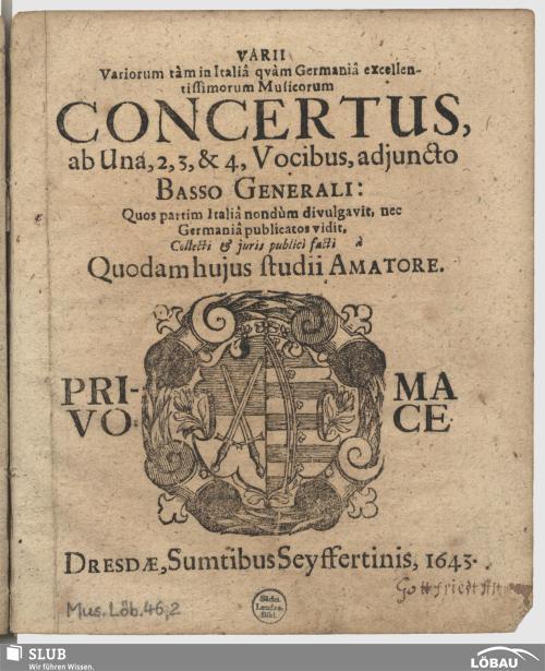 Vorschaubild von Varii variorum tàm in Italiâ quàm Germaniâ excellentissimorum musicorum Concertus
