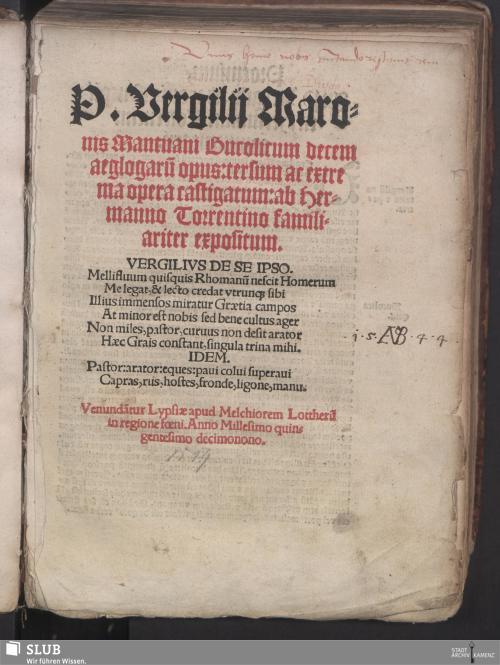 Vorschaubild von P. Vergilij Maronis Mantuani Bucolicum decem aeglogaru[m] opus