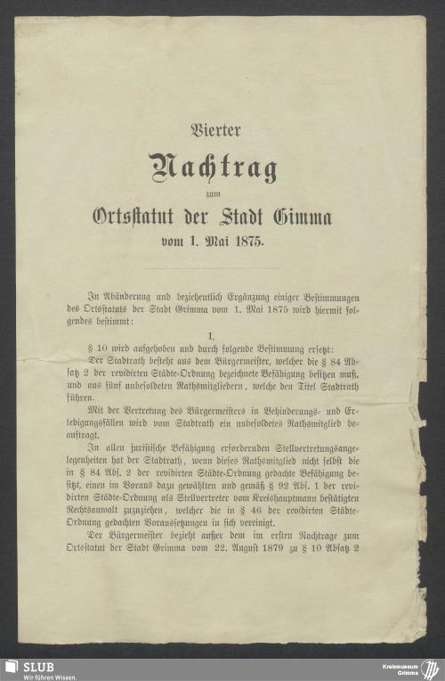 Vorschaubild von Vierter Nachtrag zum Ortsstatut der Stadt Grimma vom 1. Mai 1875