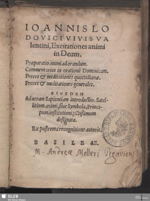 Vorschaubild von Ioannis Lodovici Vivis Valentini, Excitationes animi in Deum