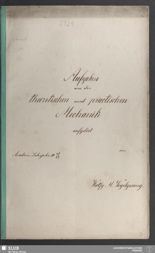 Vorschaubild von Aufgaben aus der theoretischen und practischen Mechanik - 18.7596 2.