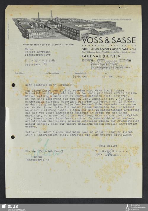 Vorschaubild von Voss & Sasse, Stuhl- und Polstermöbelfabriken, Inhaber: Carl Sasse, Lauenau (Deister)