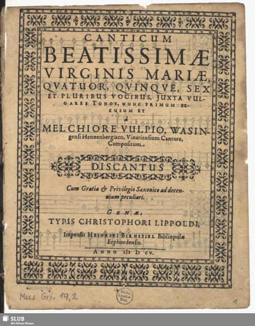 Vorschaubild von Canticum Beatissimae Virginis Mariae
