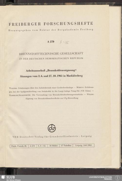 Vorschaubild von Arbeitsausschuss Braunkohlenentgasung